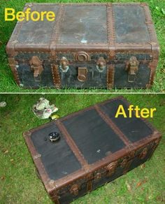Inspiration only! Fixing thrift store finds can be easy. With a little cleaning and elbow grease, fixing them can be easy. In no time, gently used items will look brand! Trunk Makeover, Furniture Makeover, Diy Furniture, Trunk Redo, Refinished Furniture, Old Trunks, Vintage Trunks, Antique Trunks, Vintage Suitcases