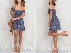 Off the Shoulder Floral Flare Short Dress