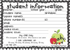 Simply Sprout: Keep all of your student information at your fingertips. Just print the 5X7 image below onto card stock (right click and save the image and insert into a word document, place 2 per page and print) TEACHER TIP:  I like to laminate cards, hole punch and attach onto a metal ring. You can keep student information at your fingertips throughout the year. Perfect for emergencies, field trips or quick contact information. Just hang on a hook by your phone in your room.