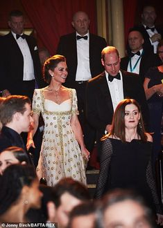 Kate Middleton stuns on BAFTA red carpet in white and gold gown Prince William and Kate could be seen beaming Prince William And Kate, William Kate, Princess Charlotte, Princess Diana, Duke And Duchess, Duchess Of Cambridge, Bafta Red Carpet, Principe William Y Kate, Gold Gown