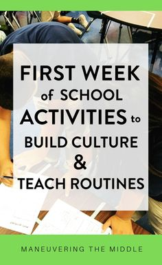 Teach routines and build culture using these fun activities for your middle school classroom. Engage your students and have fun the first week of school. | manevueringthemiddle.com #middleschool #classroommanagement #backtoschool