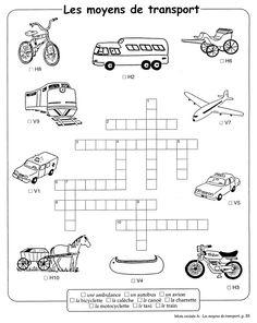 moyens de transport fle enfants french worksheets transportation french class. Black Bedroom Furniture Sets. Home Design Ideas