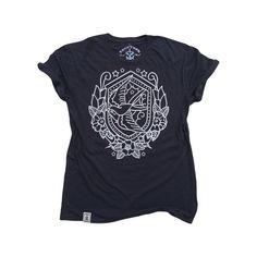 Nautical Swallow: Organic Fine Jersey Short Sleeve T-Shirt in Black