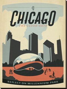 Chicago: The Cloud Gate Reproduction transférée sur toile by Anderson Design Group - AllPosters.ca