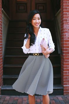 ExtraPetite.com - Ann Taylor dotted shirt + swingy striped skirt