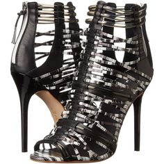 L.A.M.B. Venue (Black/White) High Heels ($250) ❤ liked on Polyvore featuring shoes, sandals, black, black high heel sandals, black leather shoes, leather sole shoes, l a m b shoes and black leather sandals