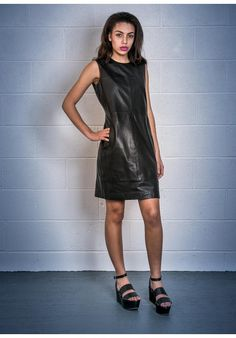 Stefanel Leather Shift Dress