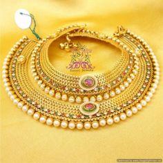 Online Shopping for Kundan Pearl Anklets   Anklets   Unique Indian Products by Sanvi Jewels Pvt. Ltd. - MSANV64596667630