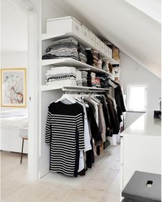 Add style and storage space to your bed room with these open closet designs nordic house - open closet design. I think I might use this idea when I finally turn the spare bedroom into a closet/dressing room. Attic Closet, Wardrobe Closet, Closet Bedroom, Walk In Closet, Home Bedroom, Open Wardrobe, Closet Wall, Master Closet, White Closet