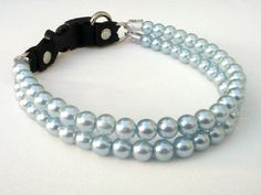 Double Strand Baby Blue Pearl Dog Collar Pearl cat by BeadieBabiez