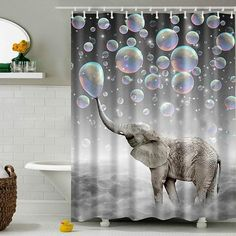 Bathroom Shower Curtain Elephant Waterproof Polyester Fabric 12 Hook  180cm×180cm #Littleduckling #AnimalPrint