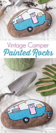 Dress up your garden or decorate your houseplants with painted rocks. I just love this vintage camper; it makes me want to go glamping. #sponsored #decoartprojects
