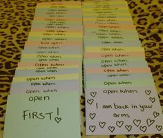 """""""Open when..."""" letters. I will need to start making these so I have plenty of time to think of the right thing to say for each one. A great gift for an anniversary or other special day"""