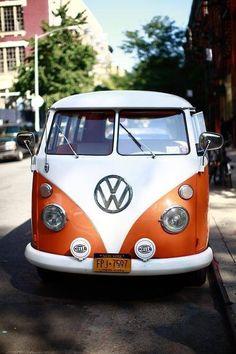 Metallic orange split window vw bus