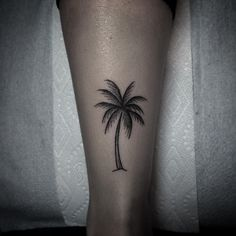 Hand poked palm tree by Belladona Hurricane.