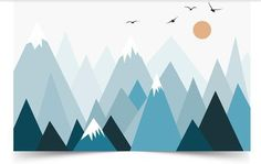 Grey Geometric Mountains Wallpaper Wall Mural, Triangle Mountains Hills Seagull with Sun Geometric Nursery Living Room Wall Mural
