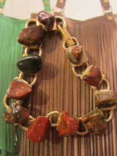 Retro Open Link Bracelet Polished Brown Natural Stones