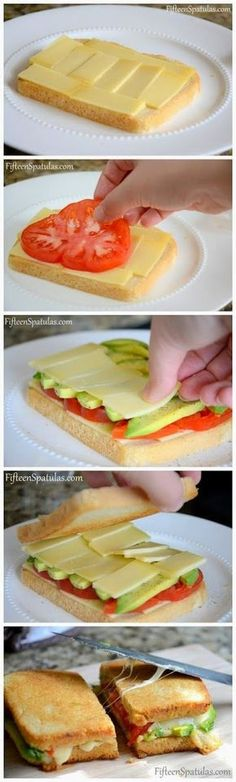 all-food-drink: Grilled Cheese with Avocado and Heirloom Tomato ~ Yum I have all these things!
