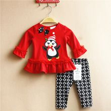 Christmas Clothes NEW 6M-3T Baby Girl Rare editions Penguin Long Sleeved Shirt and Pants Christmas New Year Outfit(China (Mainland))
