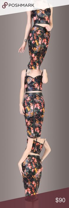 Pretty Attitude Floral PU Leather Set Awesome PU faux leather set from Pretty Attitude Online Boutique. Bold Floral design on a black leather background. pencil skirt with back slit and cropped bustier top. both size medium- true to size. No flaws- one of the hang straps for the skirt is ripped, but no damage to skirt. top has adjustable straps Pretty Attitude Skirts Skirt Sets