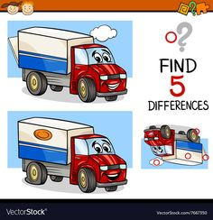 Task of finding differences vector image on VectorStock Spot The Difference Kids, Kids Word Search, Transportation For Kids, Truck Transport, Printable Preschool Worksheets, Hidden Pictures, Kids Learning Activities, Childhood Education, Learn English