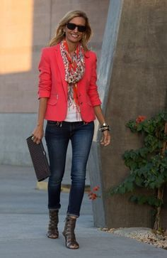 I like the top half of this outfit. The jeans are too tight for me, but I love the color and the jacket-scarf combo.