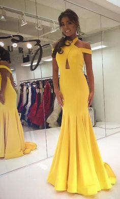 elegant prom dresses, 2018 prom dress, yellow prom dress, mermaid long prom dress, graduation dress, formal evening dress