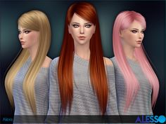 Alexis straight long hair by Alesso at TSR • Sims 4 Updates