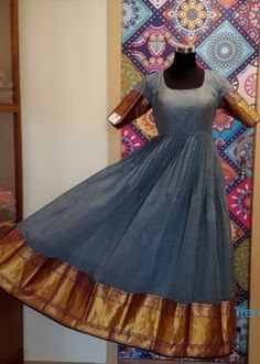 Checks Chanderi Silk Anarkali with pure silk pattu border by Shaanvi Designer Studio. Price Rs 7500 For Purchase and Price enquiries Saree Gown, Sari Dress, Anarkali Dress, Anarkali Suits, Lehenga, Indian Gowns Dresses, Indian Fashion Dresses, Frock Fashion, Women's Fashion