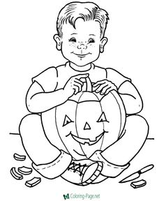 Boy carving halloween jack o lantern coloring pages, coloring sheets and pictures. Wwe Coloring Pages, Cupcake Coloring Pages, Fall Coloring Pages, Coloring Pages To Print, Printable Coloring Pages, Coloring Sheets, Adult Coloring, Coloring Books, Free Coloring