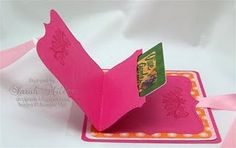 Top Note Gift Card Holder.  I am loving the fancy folds used for card these days. thanks to everyone for sharing their ideas. This one is from Dawn's stampin studio