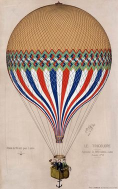 """The French """"Le Tricolore"""" balloon in the colors of the French flag with three passengers, possibly Jules Duruof, his wife, and another man, standing in the basket during an ascension in Paris, June 6, 1874.    Printed signature: J. Duruof, Paris, 6 Juin 1874. """"Echelle de 25 mill. pour 1 mêtre 1/40""""— printed lower left.    """"Aèrostat de 800 mêtres cubes. Diamêtre 11m 53""""— printed lower right."""