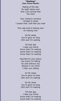"Lyrics for ""Waiting"" by Dash Berlin. Emma Hewitt"