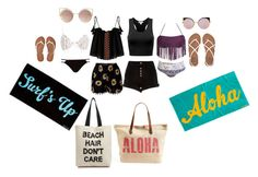 """""""beach day"""" by natalie-the-little-panda ❤ liked on Polyvore featuring For Love & Lemons, River Island, Aéropostale, Billabong, Fendi, MANGO, Rip Curl and Fallon & Royce"""