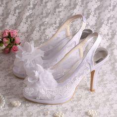 [US$ 61.99] Women's Lace Stiletto Heel Peep Toe Slingbacks