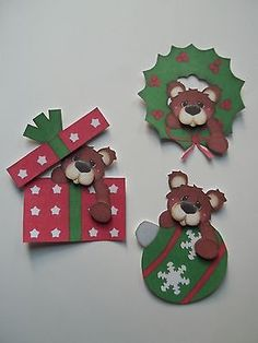3D Paper Piecing CHOICE   ~ 430 Bear Wreath Present Ornament Christmas
