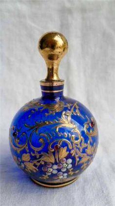 COBALT BLUE/GOLD PERFUME BOTTLE