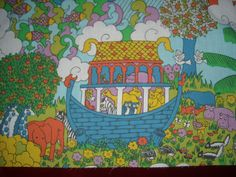 A176 Vintage 70s Noah''s Ark Pat Albeck style child novelty cotton fabric