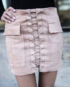 You Wish Suede Lace Up Skirt - Beige