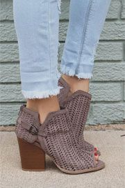 Faux Suede Open Peep Toe Ankle Booties with Mini Cutout Design-Taupe