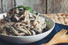 creamy vegan mushroom fettuccine alfredo | RECIPE on hotforfoodblog.com