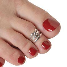 jewel, toe ring, fab, pretty, red, nail polish, pedicure, silver,