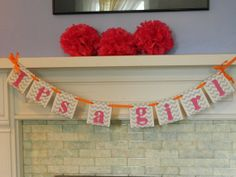 its a girl banner chevron baby shower decoration baby shower itu0027s a girl