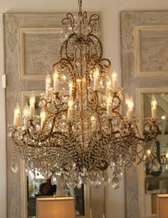 This Vintage Italian Chandelier makes quite the statement! Lighting We Love at Design Connection, Inc. French Chandelier, Italian Chandelier, Antique Chandelier, Chandelier Lighting, Chandelier Crystals, Foyer Chandelier, Chandeliers, Old Mirrors, Types Of Lighting