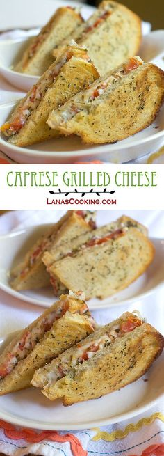 Ripe tomatoes, mozzarella, and pesto make this Caprese Grilled Cheese truly delicious! from @NevrEnoughThyme http://www.lanascooking.com/caprese-grilled-cheese/