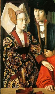 "7. ""Medieval Couple,"" Late middle Ages - Upper class V-neckline, belted houpelande, veil, high forehead."