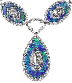 Detail: Bogh-Art diamond inlaid into opal necklace. Via The Jewellery Editor.
