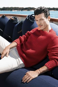 #sweater #red #whitetrousers
