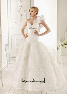 Amazing Organza Mermaid One Shoulder Neckline Empire Waist Ruffled Wedding Gown With Beadings #Vestidos de #novia