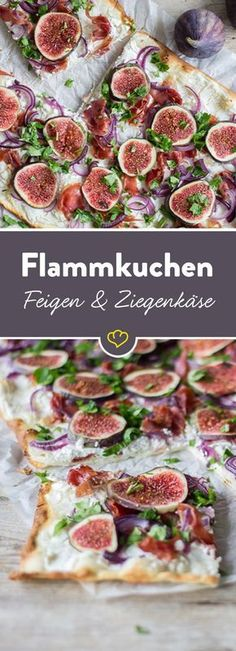 Tarte flambée with goat cheese and Flammkuchen mit Ziegenkäse und Feigen The recipe for tarte flambée with figs and goat cheese and many other delicious recipes can be found in Springlane magazine. Healthy Eating Tips, Healthy Snacks, Healthy Recipes, Delicious Recipes, Veggie Recipes, Snack Recipes, Soul Food, Food Inspiration, Foodies